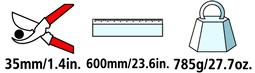 Caractéristiques techniques de l'ébrancheur Felco 200A-60