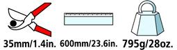 Caractéristiques techniques de l'ébrancheur Felco 210A-60