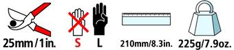 Caractéristiques techniques du sécateur à enclume courbe Felco 32